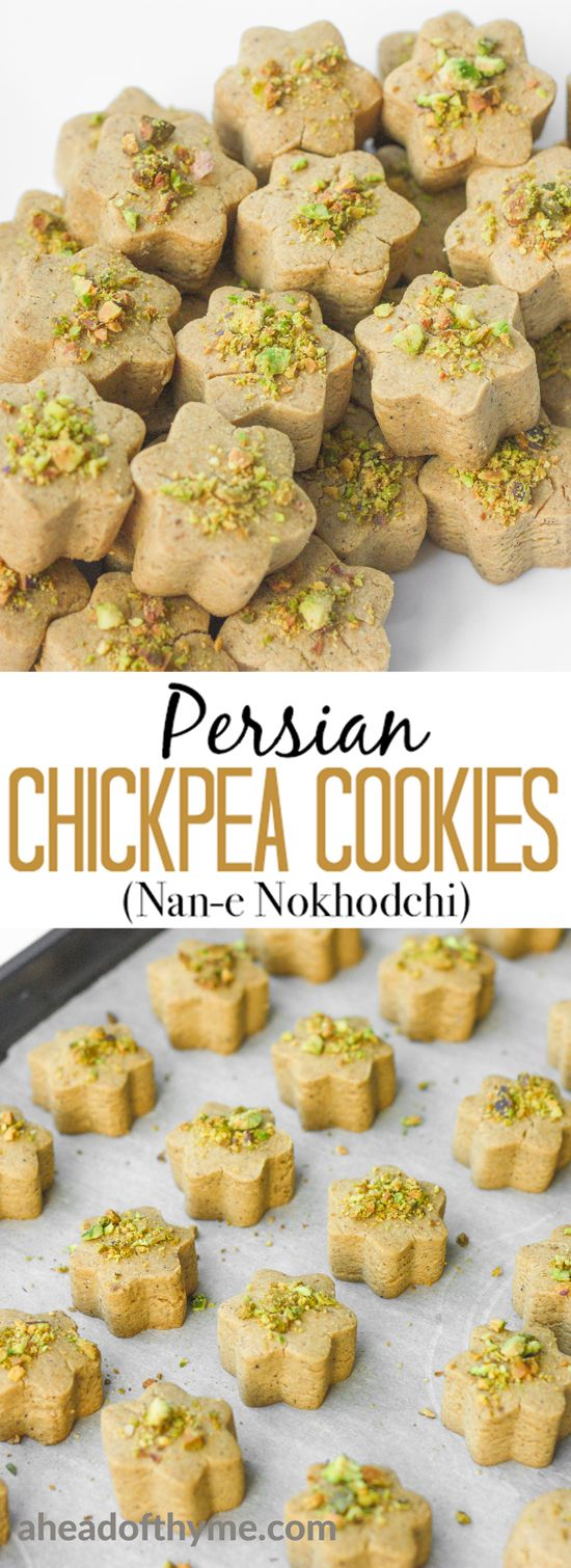Persian Chickpea Cookies with Pistachio (Nan-e Nokhodchi) is a crumbly, melt-in-your-mouth cookie, made with the fragrant flavours of rose water, cardamom and pistachio. | aheadofthyme.com via @aheadofthyme