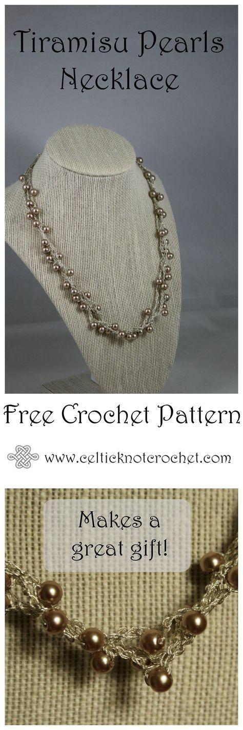Tiramisu Pearls Necklace - Celtic Knot Crochet