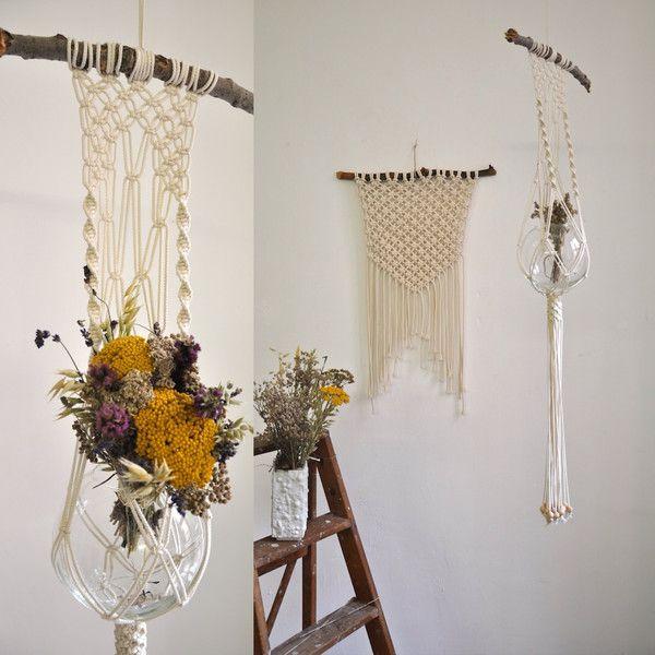 Beautiful macramé plant hanger boho chic van California Dreaming op DaWanda.com