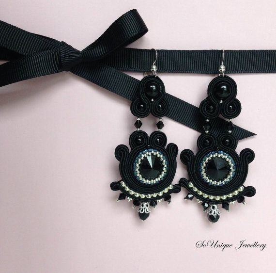 Superb black statement earrings in soutache by SouniqueJewellery, £18.00