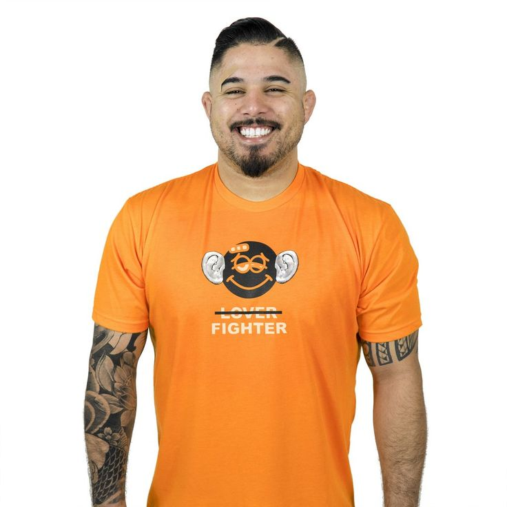 I'm a fighter, not a lover. Limited run on neon orange tee. Fine Jersey, 100% Cotton, Screen printed front and inner neckline, Woven labelat hem line