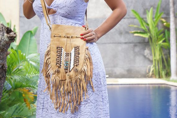 Leather Shoulder Bag Mocca Bohemian Navajo by BramsKaraDesign