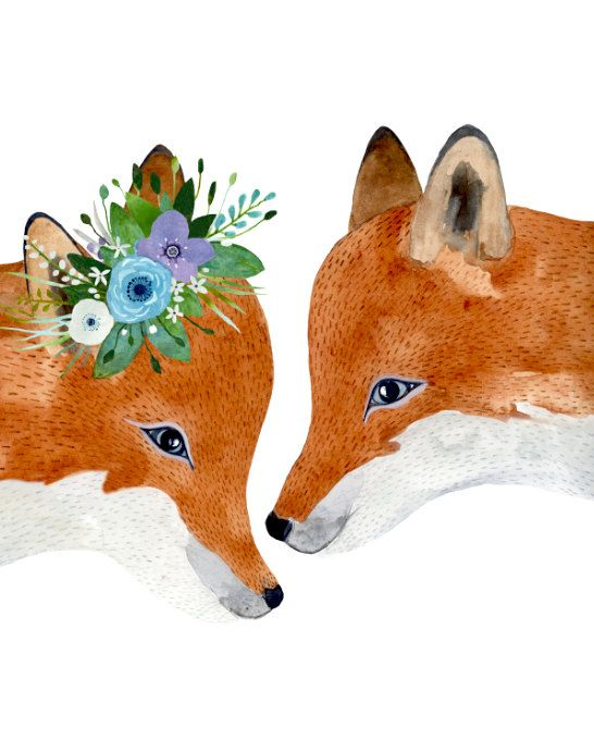 Fox couple  This is a print of my original watercolor painting. The print measures 8.5x11. It is printed on 100% cotton fine art archival paper with