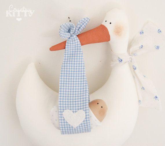 (scendi piú sotto per le descrizione in italiano - scroll down for italian description)    This is a stork softie newborn decoration