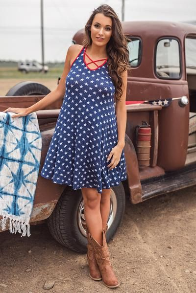 Firework Star Print Dress (Navy)