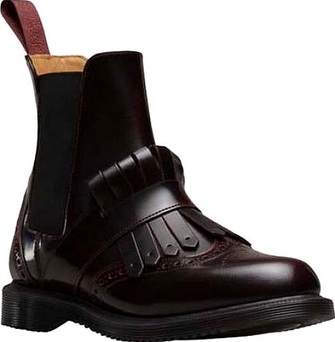 Dr. Martens Shoes - The stylish Tina Kiltie Brogue Chelsea Boot features brogue detailing, a kiltie strap, tassel, and a medial inside zip for easy on and off. This chelsea boot is leather lined and sits on a low plain welt. - #dr.martensshoes #cherryshoes