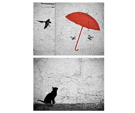 Urban Street Art: Paris, France (two photo prints; set) – Travel Photography [Umbrella Cat Graffiti Banksy style / Black White Red Stencil]
