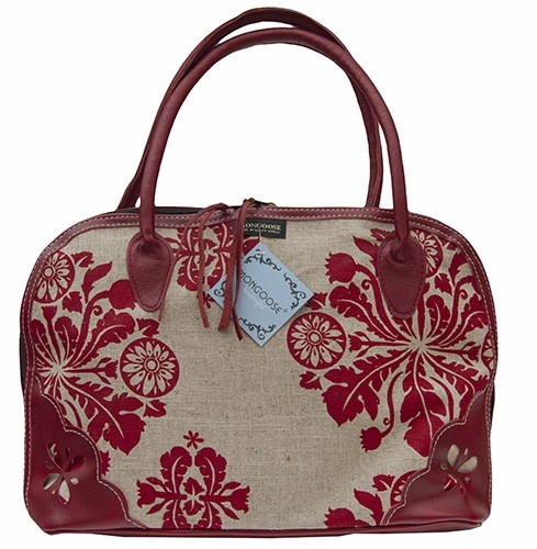 MONGOOSE DAISY BAG AFRICAN DAISY RED AND CREAM PRINT