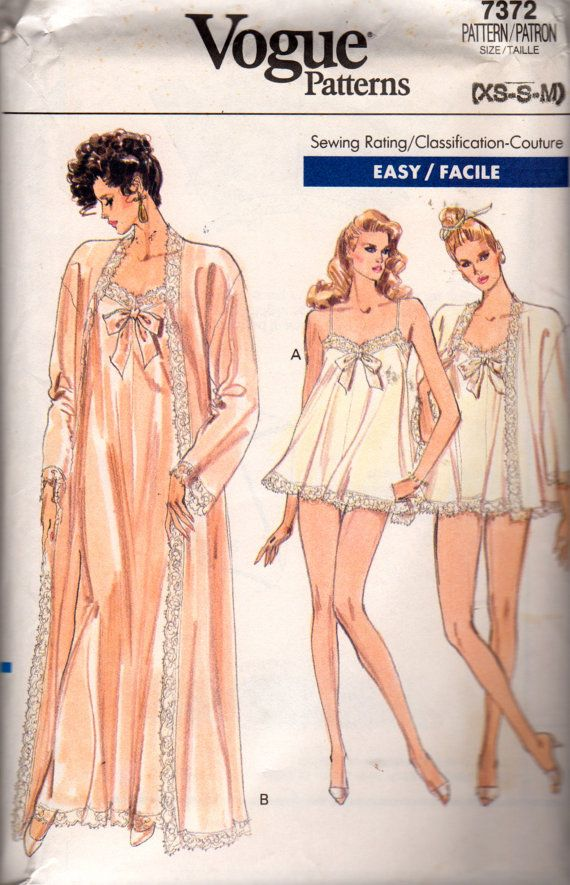 Vogue 7372 1980s Misses Lace Robe  Nightgown Panties 2 Lengths Easy womens vintage seiwng pattern by mbchills