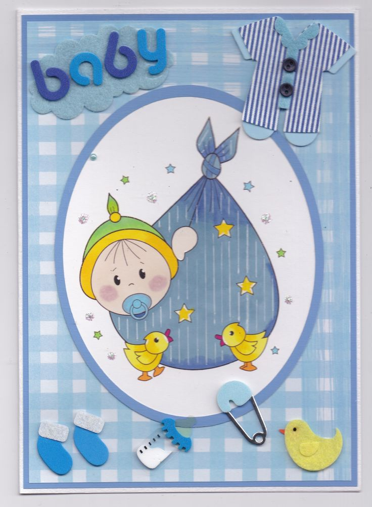 New Baby card 2017: Stamp from Pink Gem designs: Baby Boy Bundle; Paper is W&M; frame cut on the Cameo, the rest are foam dimensional stickers