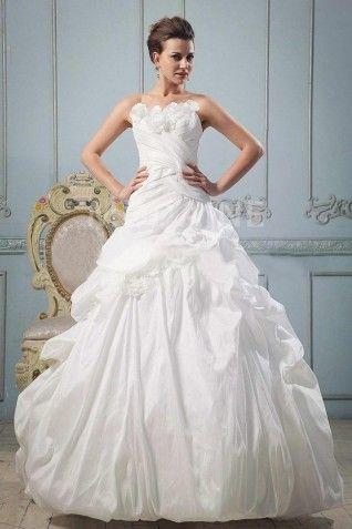 Robe de mariée princesse fleurs froncée taffetas traîne balayée [#M1310175404] - modanie