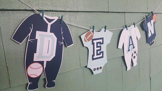 Sports one piece clothesline sports banner nursery decor boy