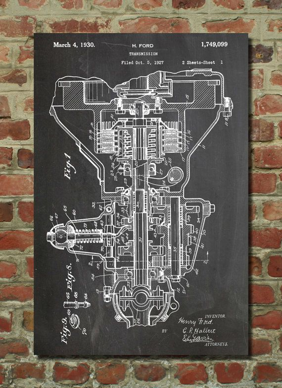 Henry Ford Transmission Patent Poster Car Part Art by PatentPrints