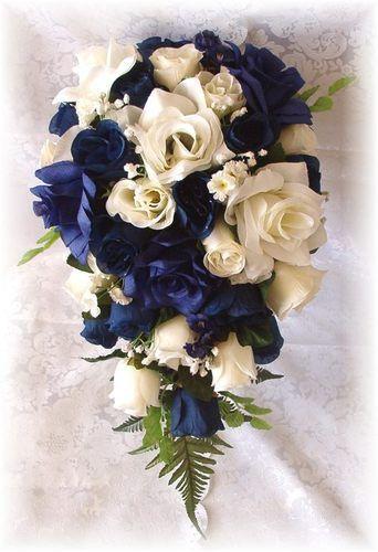 8pc Silk Wedding Bouquet Flowers Navy Blue Cream Ivory Bridal Roses Cascade