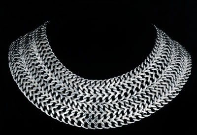home gallery   next gallery   next item in gallery  Stupendous Deco Extra Wide  Far Fan Mexican Silver Chainmail  Cleopatra Necklace