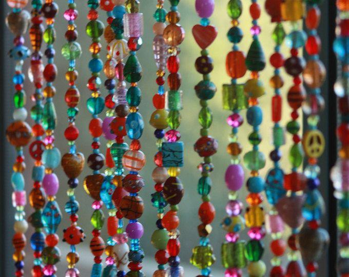 Perlen Perlen Tür Vorhang, hängende Tür Perlen-Perlen-Wandbehang, Fenstervorhang, Vorhang, Glasperlen Suncatcher Crystal Beaded Vorhänge