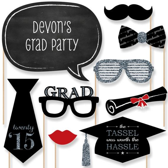 A fabulous photo booth has two things: a great backdrop and unique photo booth props. This set of 2015 Graduation Party photo booth props will