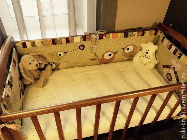 Купить Бортики в детскую кроватку - бежевый, новорожденному, текстиль для…