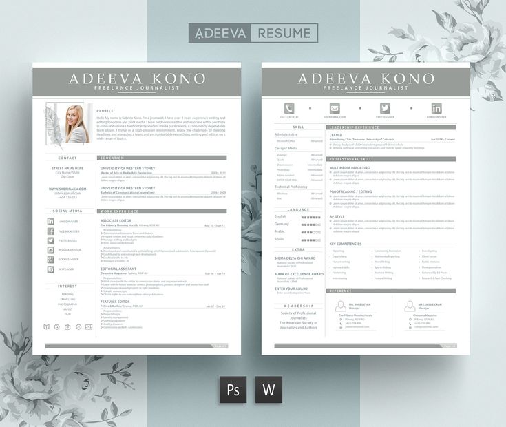 1 Page Resume Template MS Word by GraphicFlava on - 1 page resume