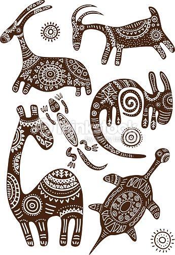 Arte vectorial : Conjunto de vector patrones tradicionales africano con animales