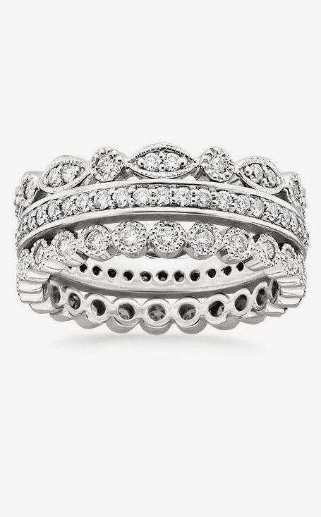 Antique Eternity Diamond Ring Stack ♥ L.O.V.E.