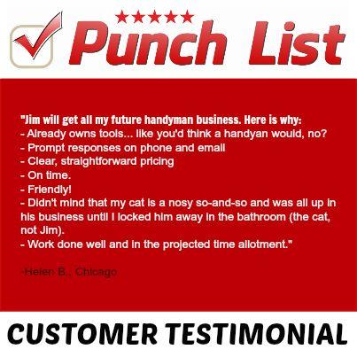 10 best Punch List Testimonials! images on Pinterest - punch list