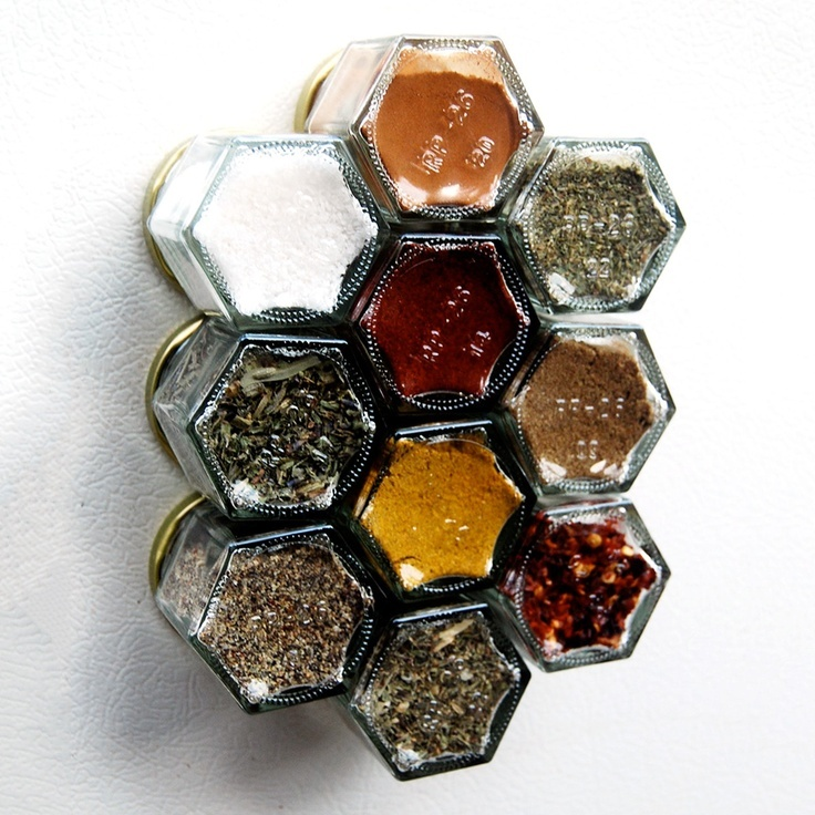 Spices in mini-jam jars with magnets on the covers. Very cool.