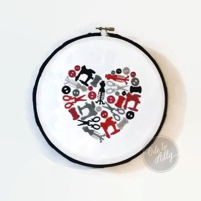 Heartfelt Fundraiser- The Love of Sewing Embroidered Hoop Art