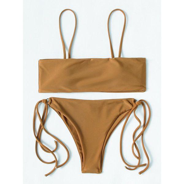 SheIn(sheinside) Ring Detail Strappy Bikini Set ($15) ❤ liked on Polyvore featuring swimwear, bikinis, brown, strappy bikini, sexy bikini, strappy bikinis, brown bikinis and sexy swimwear