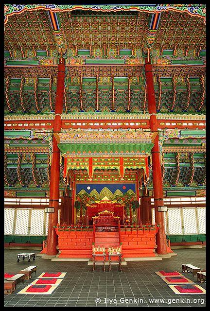 The Throne at Geunjeongjeon Hall at Gyeongbokgung Palace in Seoul, South Korea