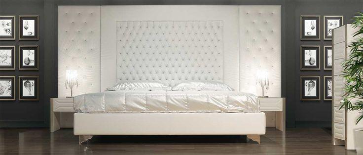 Cama tapizada doble de tela con cabecera alta THEATRE Colección Lumiere by Formenti