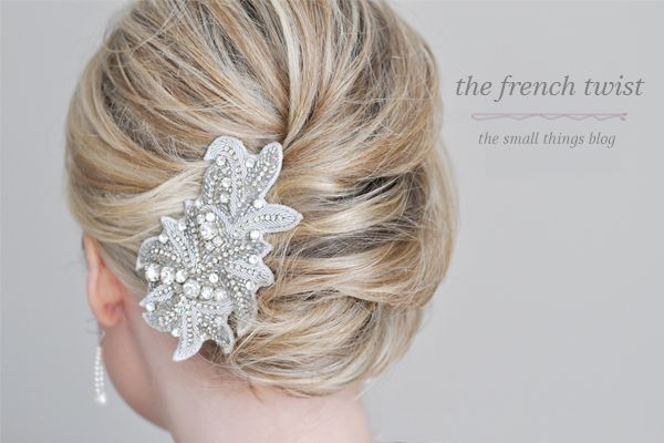 DIY- I have one of these hairpieces in white and silver, but could make one however you want it!  Looks cute with the french twist!