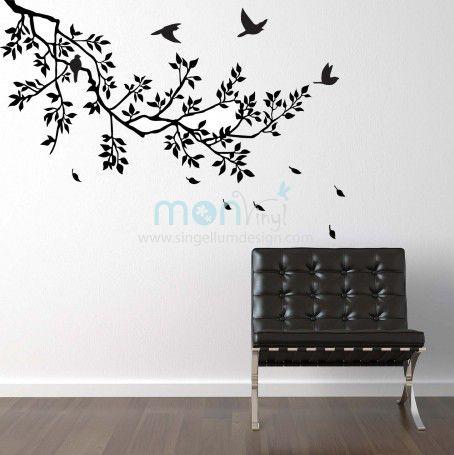 Vinilo rama con p jaros volando vinilos decorativos for Decoracion paredes vinilos adhesivos