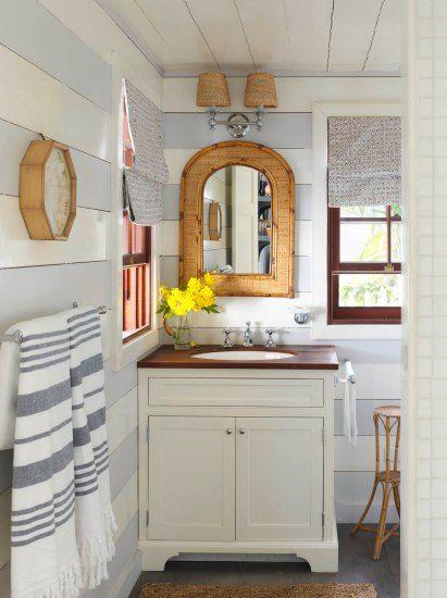 Beach house bathroom with Bahamas cottage style, on Harbour Island, Bahamas. Coastalliving.com