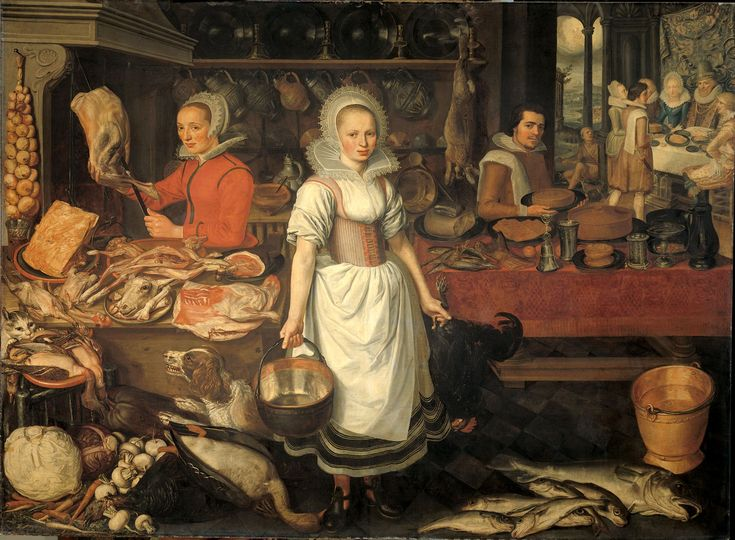 Anonymous - Kitchen interior with the parable of the rich man and the poor Lazarus, circa 1610