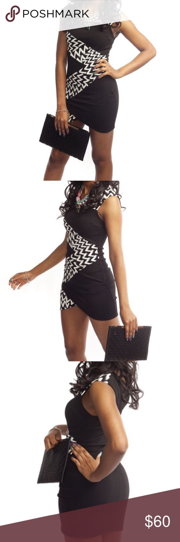 Black & White Zig Zag Bodycon Dress Black and white cap sleeve fitted dress with zig zag design on front. 96% Polyester 4% Spandex Dresses
