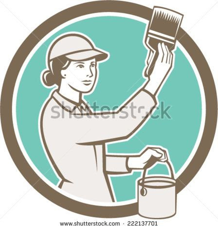 Illustration of a female house painter painting holding paintbrush and paint can set inside circle on isolated background done in retro style.  - stock vector #mother #retro #illustration