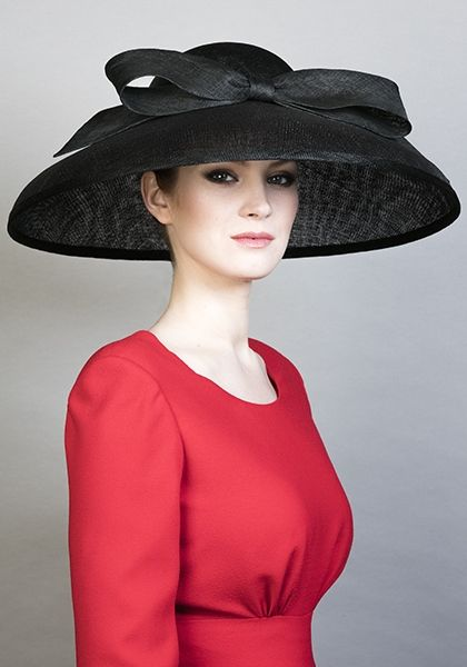 Rachel Trevor Morgan Millinery SS 2016 | R16107 - Black fine straw 'Tiffany' bell hat with bow Women's Accessories - http://amzn.to/2hWwWYY
