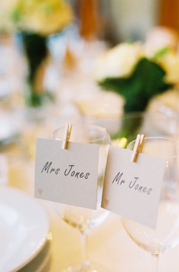small clothes pins for the placecards on the napkins