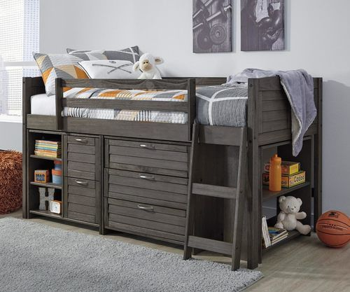 Best Amherst Low Loft Bed With Chests And Bookcase Antique Grey 640 x 480