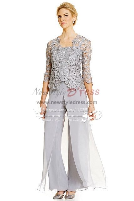 Silver Grey 3pc Pantset For Summer Wedding Mother Of The Bride Pant Suits With Lace Jacket
