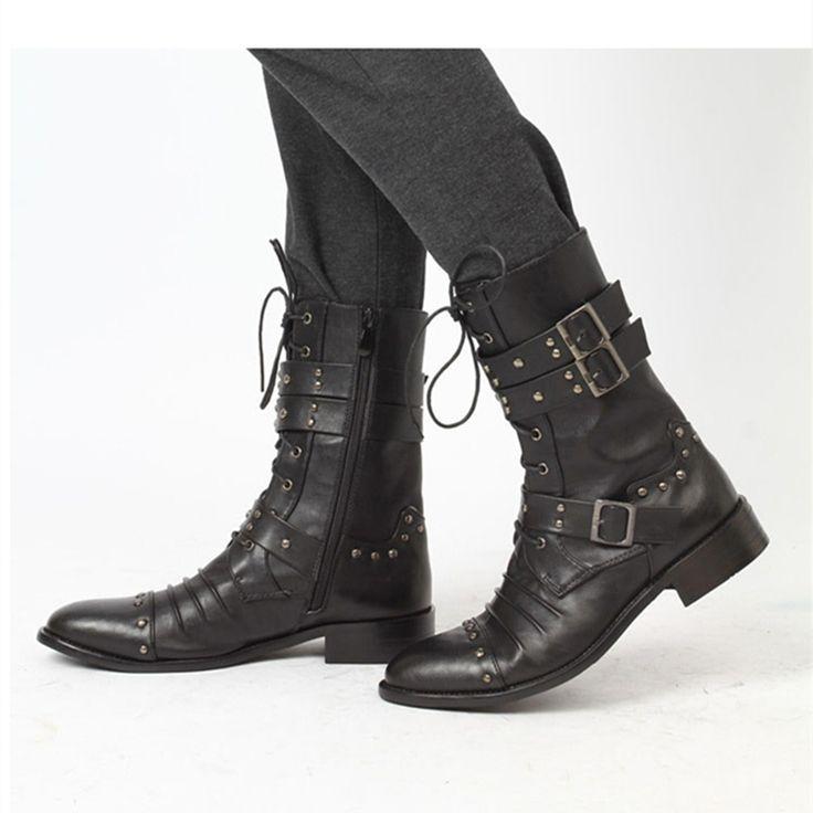 Новый человек мода сапоги весной 2015 зимние ботинки свободного покроя англии стиль заклепки складки острым кожаные сапоги для верховой езды тактика армейские ботинки
