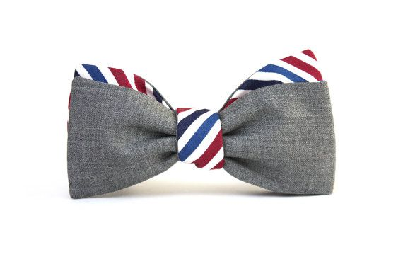 Mens Bow tie Grey wool and striped cotton men's self tied