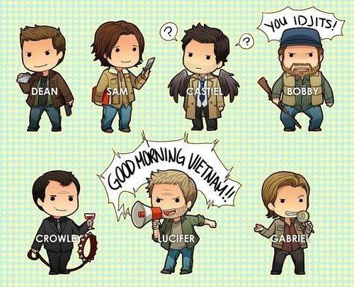 Dean, Sam, Castiel, Bobby, Crowley, Lucifer, and Gabriel ||| Supernatural