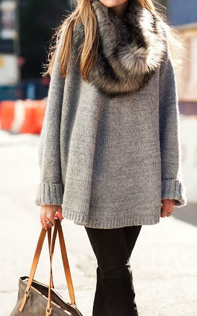 Fur Collar + Slouchy Grey Sweater