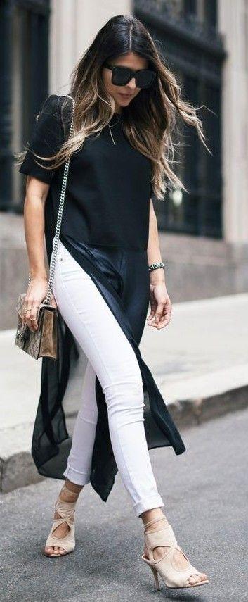 #summer #trendy #outfitideas Black Long Flowy Blouse + White Denim