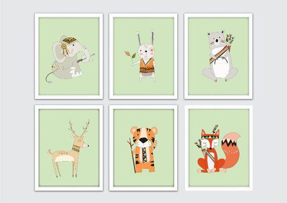 Tribal Animals Nursery Art Woodland Animals by RomeCreations