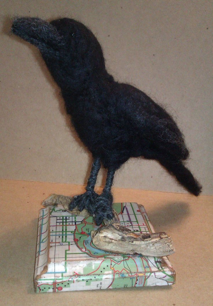 """""""Raven's View""""; 2014; Mixed media & needle felted sculpture by Holly Boone of Polar Lights Art Studio. Currently located at the Alberta Craft Council. - SOLD! http://polarlightsart.wix.com/plas#!hollys-work/cq0w"""