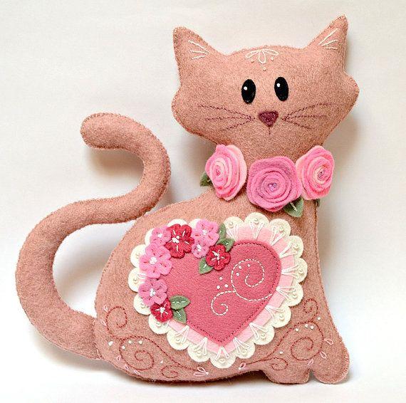 Fieltro gato felpa mezcla de lana rosa por CreaturesInStitches