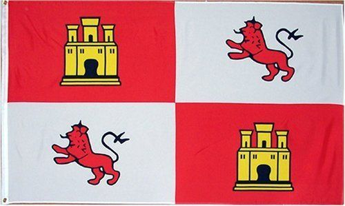 """Spain Royal """"Lions + Castles"""" Flag - 3 foot by 5 foot polyester (NEW) by Country Flags """"S-T"""". $0.98. 3 Foot by 5 Foot, Indoor-Outdoor, Lightweight Polyester Flag with Sharp Vivd Colors. 2 Metal Grommets For Eash Mounting with Canvas Hem for long lasting strength. FAST SHIPPER: Ships in 1 Business Day; usually the Same Day if pmnt clears by noon CST. Express Domestic Shipping is OVERNITE 98% of the time, otherwise 2-day.. Express International Shipping is Global Express..."""